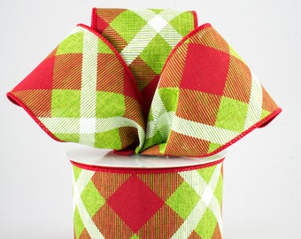 Plaid Bow - Lime Green, Red & White - Custom Made with this Ribbon