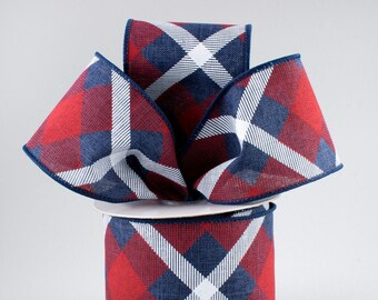 Plaid Bow - Navy, White & Red - Custom Made with this Ribbon