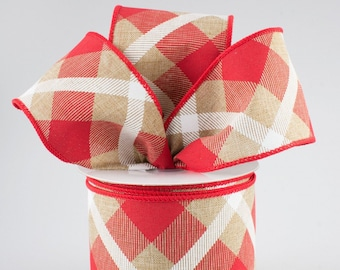 Plaid Bow - Red White & Beige - Custom Made with this Ribbon