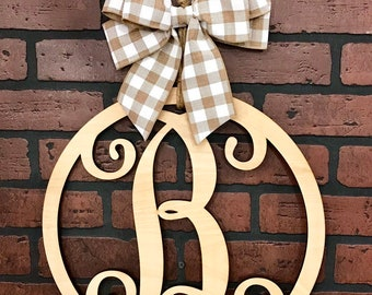Monogram Door Hanger, Buffalo Plaid Decor, Monogram Letter Door Hanger, Natural Finish, Wedding, Housewarming, Christmas