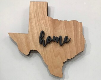 "Texas Wood Large State Plaque Wood Sign Hanger  18""  x 15""- Natural, Walnut Stain or Gray Weathered Stain"
