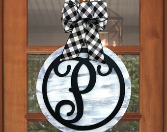 "Monogram Door Hanger | Solid Round Door Sign | Front Door Decor | 15"" or 18"" 