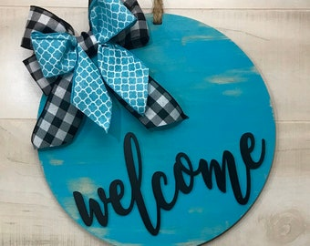 Welcome Door Hanger | Solid Round Door Sign
