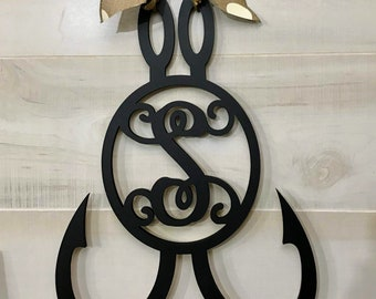 Fish Hook Monogram Door Hanger | Black Finish  |  Nautical Door Hanger | Housewarming Cabin Lakehouse Farmhouse Beach