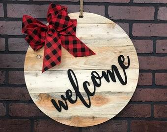 Welcome Door Hanger, Rustic Front Door Sign, Rustic Shiplap, Farmhouse Decor, Front Door Wreath, Year Round Wreath, Modern Door Hanger