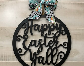 Happy Easter Yall Circle Door Hanger with Black Finish