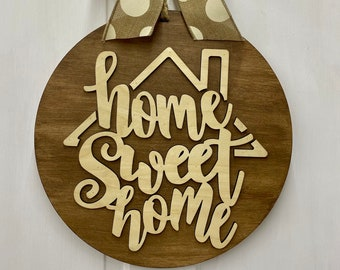 Home Sweet Home Door Hanger | Bow Options | Front Door Wreath | Year Round Decor | Farmhouse