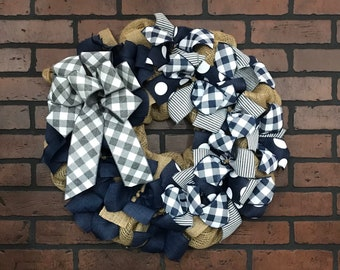 Front Door Wreath |  Gray Navy Door Decor | Made with our Wreath it Base