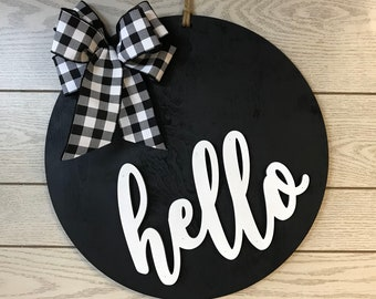 Hello Door Hanger, Front Door Sign, Front Door Decor, Welcome Wreath, Door Decor, Front Door Wreath, Year Round Wreath, Modern Door Hanger
