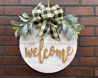 Welcome Door Hanger - Lambs Ear Greenery - Shiplap Farmhouse Decor - Two Sizes - Whitewashed on Natural Wood Sign - Year Round Door Hanger