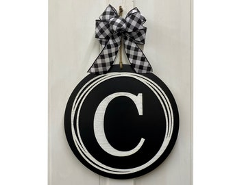 Monogram Door Hanger - Front Door Decor with Bow Options - Year Round Door Hanger
