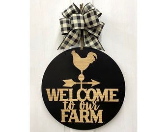 Welcome To The Farm Door Hanger - Two Sizes - Bow Choices - Farmhouse Decor - Housewarming - Wedding - Mother's Day