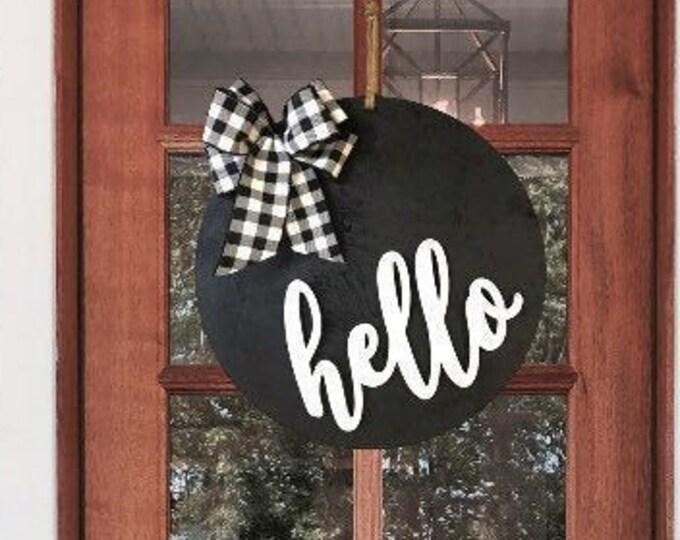 Featured listing image: Hello Door Hanger | Bow Options | Year Round Door Decor