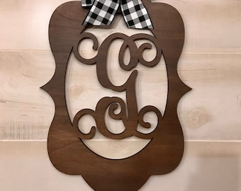 "Monogram Door Hanger | Buffalo Plaid Bow | Walnut Stain | Vine Letter Font | 23"" x 15 1/2"""