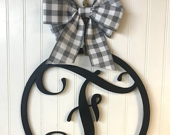Wood Monogram Circle Door Hanger | Buffalo Plaid Check Bow Options| Vine Letter Style |