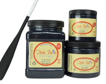 Dixie Belle Caviar Black Chalk Mineral Paint DIY Paint, Furniture Paint, Cabinet Paint, Craft Paint, Paint Parties, Stencil Paint