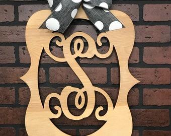"Monogram Door Hanger, Wood Hanger, Vine Letter, Housewarming, Wedding, Natural Finish  23"" x 15 1/2"" Bow Options"