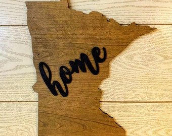 "Minnesota Wood Sign - Engraving Option - 17"" x 15"""