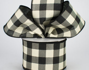 Buffalo Plaid Bow - Black & Cream - Custom Made with this Ribbon