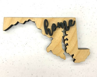 "Maryland Wood Sign - Engraving Option - 20"" x 10"""