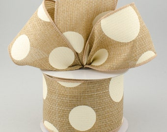 Polka Dot Bow - Beige & Ivory - Custom Made with this Ribbon