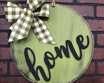 Home Door Hanger | Hello | Welcome | Wood Wreath | Farmhouse or Country Home Decor |  Housewarming Gift | Buffalo Plaid