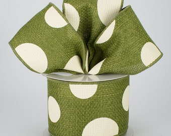 Moss Green & Ivory - Bow - Custom Made with this Ribbon