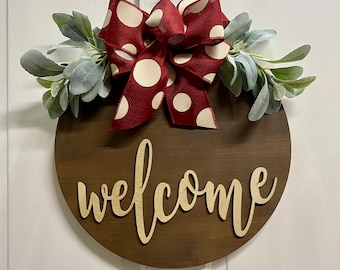 Welcome Door Hanger - Lambs Ear Greenery - Farmhouse Decor - Two Sizes - Walnut Stained Wood Sign - Year Round Door Hanger