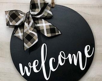 Welcome Door Hanger, Front Door Sign, Front Door Decor, Welcome Wreath, Door Decor, Front Door Wreath, Year Round Wreath, Modern Door Hanger