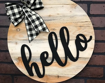 Hello Door Hanger | Urban Farmhouse Wood Wall Decor | Great Housewarming Gift