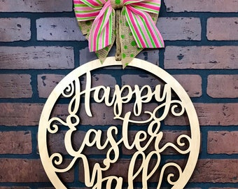 Happy Easter Yall Circle Door Hanger with a Natural Wood Finish