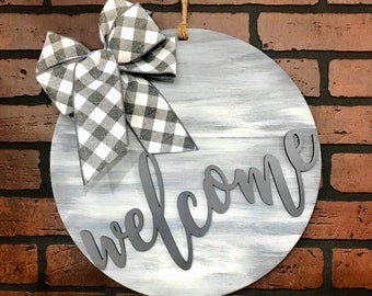 Welcome Door Hanger | Gray Whitewashed | Multiple Bow Options |Wall Decor Housewarming Wedding Decor Farmhouse Shabby Chic Rustic