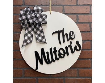 Last Name Door Hanger, Family Name Sign, Personalized Name Door Sign, Front Door Decor
