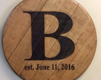 Bourbon Barrel Head - Personalized Wedding Housewarming Reception Anniversary Farmhouse Guestbook