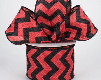 Chevron Bow - Red & Black - Custom Made with this Ribbon