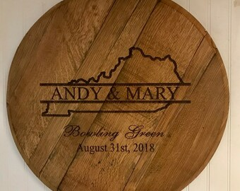 Kentucky Bourbon Barrel Head to Personalize for Weddings, Anniversaries, Housewarming Gifts, Home Decor