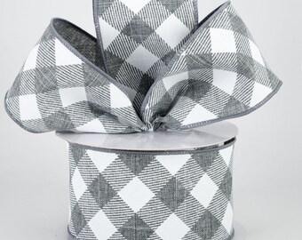 Buffalo Plaid Bow - Gray & White - Custom Made with this Ribbon