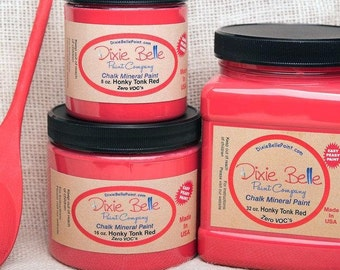 Dixie Belle Honky Tonk Red Mineral Chalk Paint DIY for Furniture, Cabinets - Many Colors, Stains, Waxes