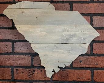 "South Carolina Wood Sign - Engraving Option - 19"" x 15"""