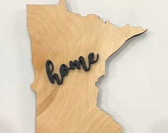 """Minnesota State Wood Sign Large State Plaque Rustic Hanger 17"""" x 15"""" - Natural, Walnut Stain or Gray Weathered Stain"""
