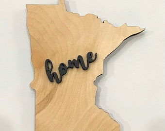 "Minnesota State Wood Sign Large State Plaque Rustic Hanger 17"" x 15"" - Natural, Walnut Stain or Gray Weathered Stain"