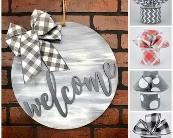 Welcome Door Hanger | Farmhouse Door Decor | Buffalo Plaid Bow | Housewarming Gift | Wedding Gift | Gift for Mom | Shabby Chic Decor