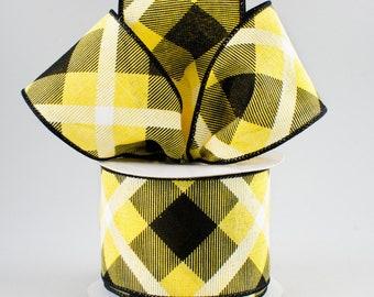Plaid Bow - Yellow White & Black - Custom Made with this Ribbon