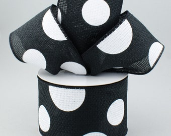 Polka Dot Bow - Black & White - Custom Made with this Ribbon