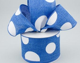 Polka Dot Bow - Blue & White - Custom Made with this Ribbon