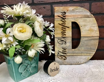 "Rustic Letter 12"" Tall Wood Optional Engraving, Farmhouse, Wedding, Nursery, Cabin Industrial Decor, Barn Style"