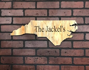 """North Carolina Wood Sign 22"""" x 8 1/2"""" with Personalized Engraving Option"""