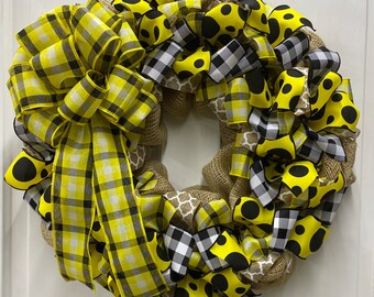Front Door Wreath | Popular Plaid Yellow, Black, White with Burlap | Spring or Summer Door Decor | Made with our Wreath It! Base