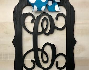 "Monogram Door Hanger, Wood Hanger, Vine Letter, Housewarming, Wedding,  23"", Painted or Unpainted, Bow Options"