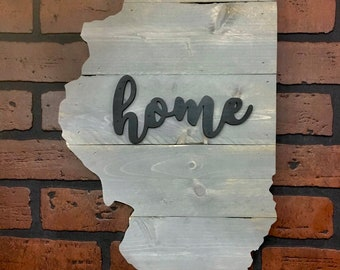 """Illinois Wood Sign Hanger 20"""" x 11""""  with Option to Personalize"""